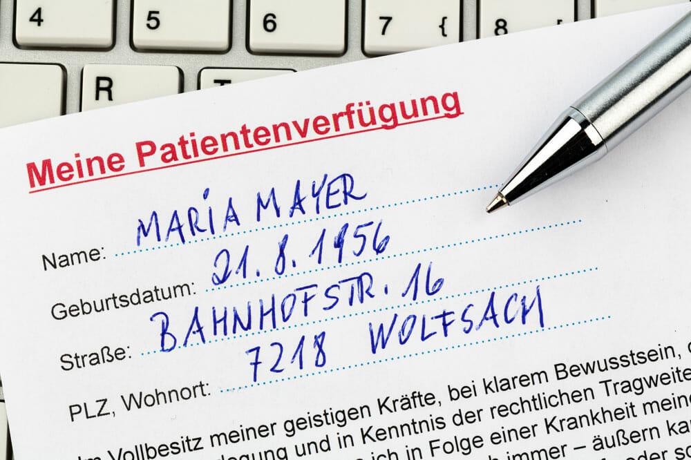 Stiefkind Patientenverfügung - nur 4% der Österreicher haben eine